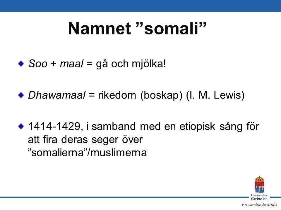 Namnet somali Soo + maal = gå och mjölka!