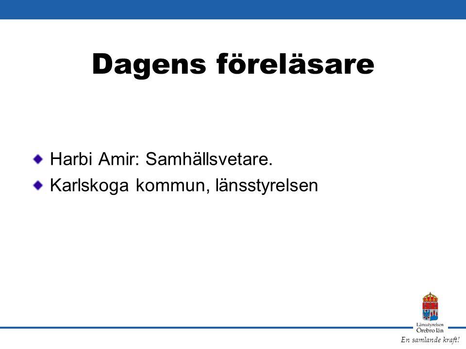 Dagens föreläsare Harbi Amir: Samhällsvetare.