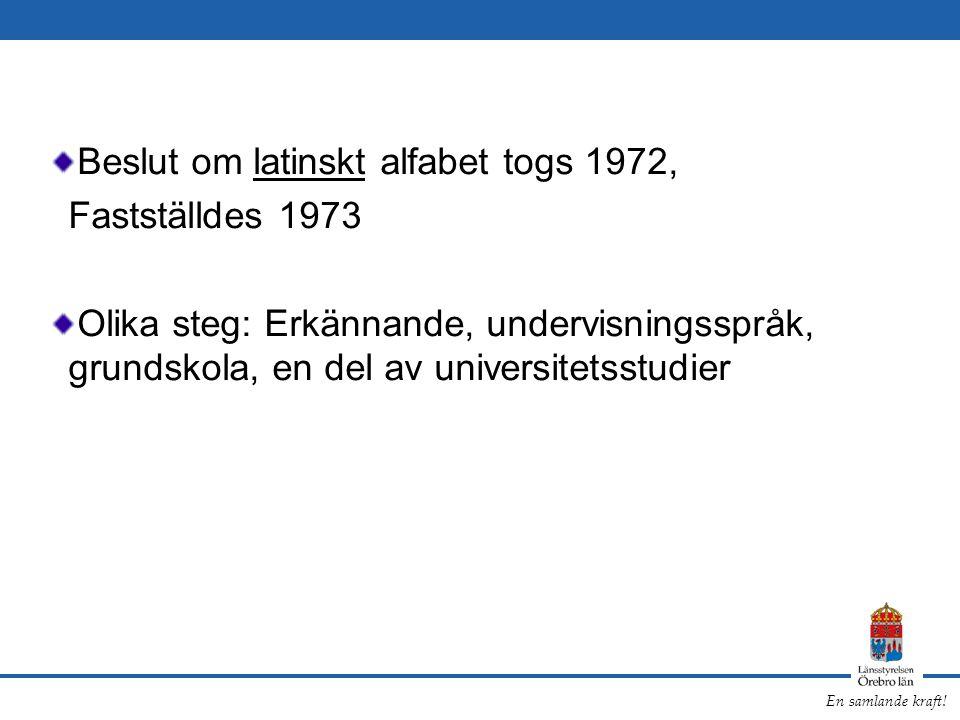 Beslut om latinskt alfabet togs 1972,