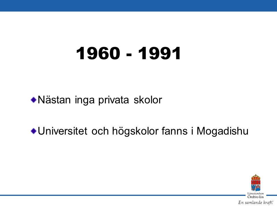 1960 - 1991 Nästan inga privata skolor