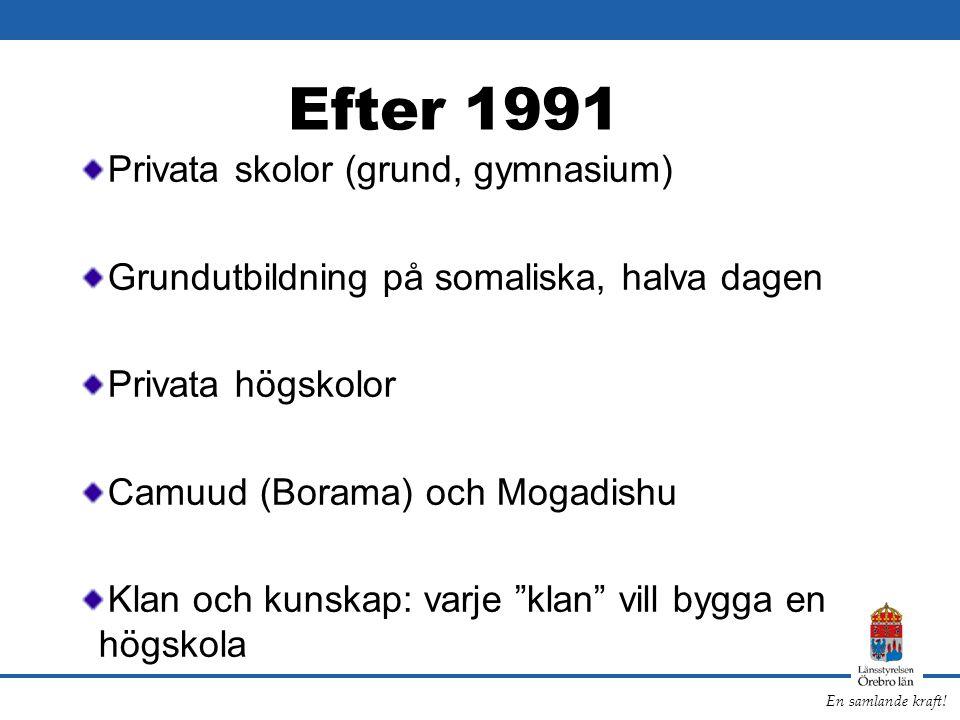 Efter 1991 Privata skolor (grund, gymnasium)