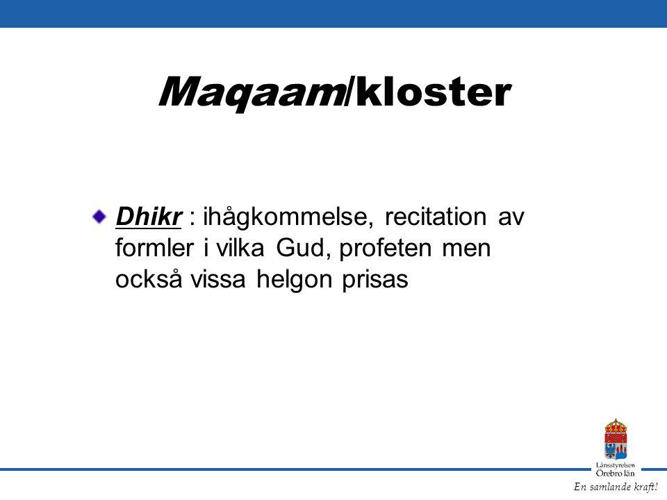 Maqaam/kloster Dhikr : ihågkommelse, recitation av formler i vilka Gud, profeten men också vissa helgon prisas.