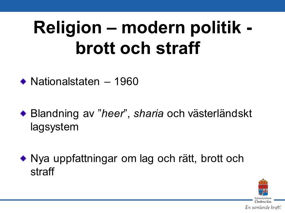 Religion – modern politik - brott och straff