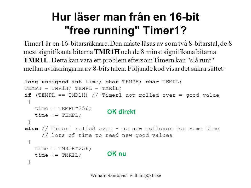 Hur läser man från en 16-bit free running Timer1