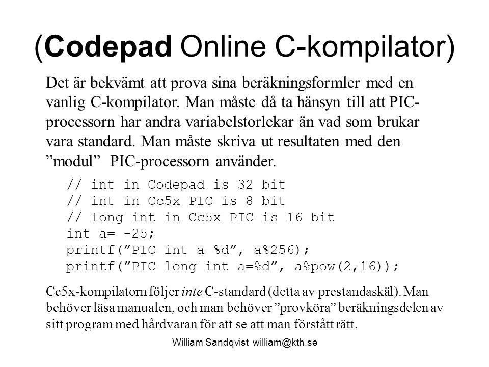 (Codepad Online C-kompilator)