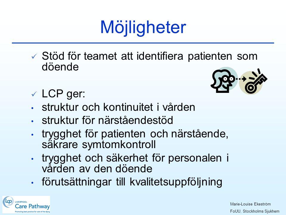 Möjligheter Stöd för teamet att identifiera patienten som döende