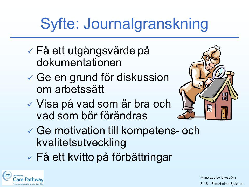 Syfte: Journalgranskning