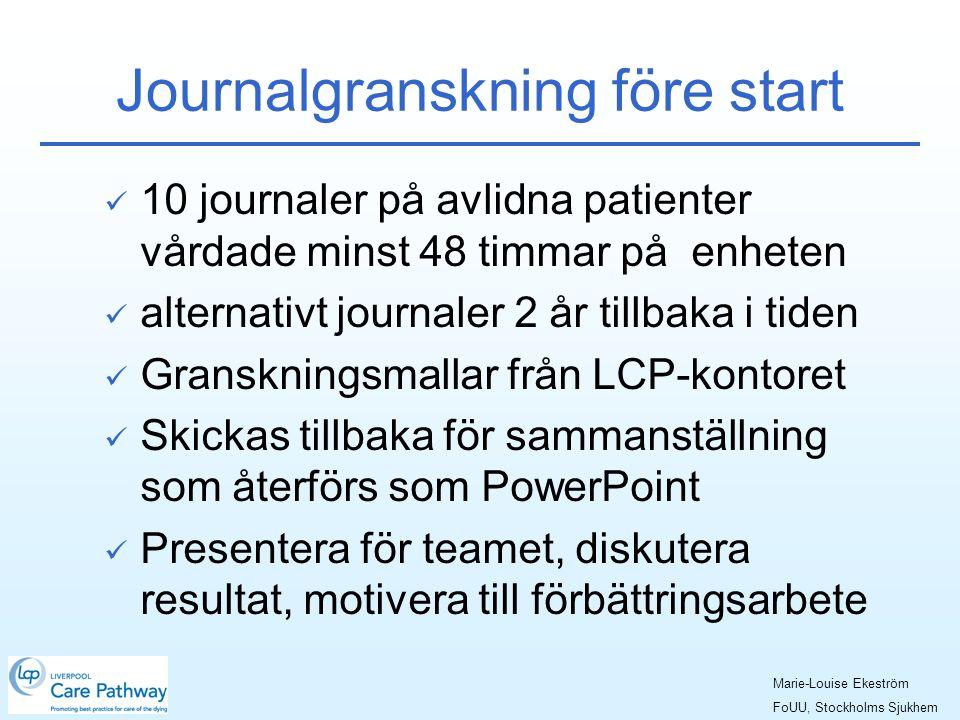Journalgranskning före start