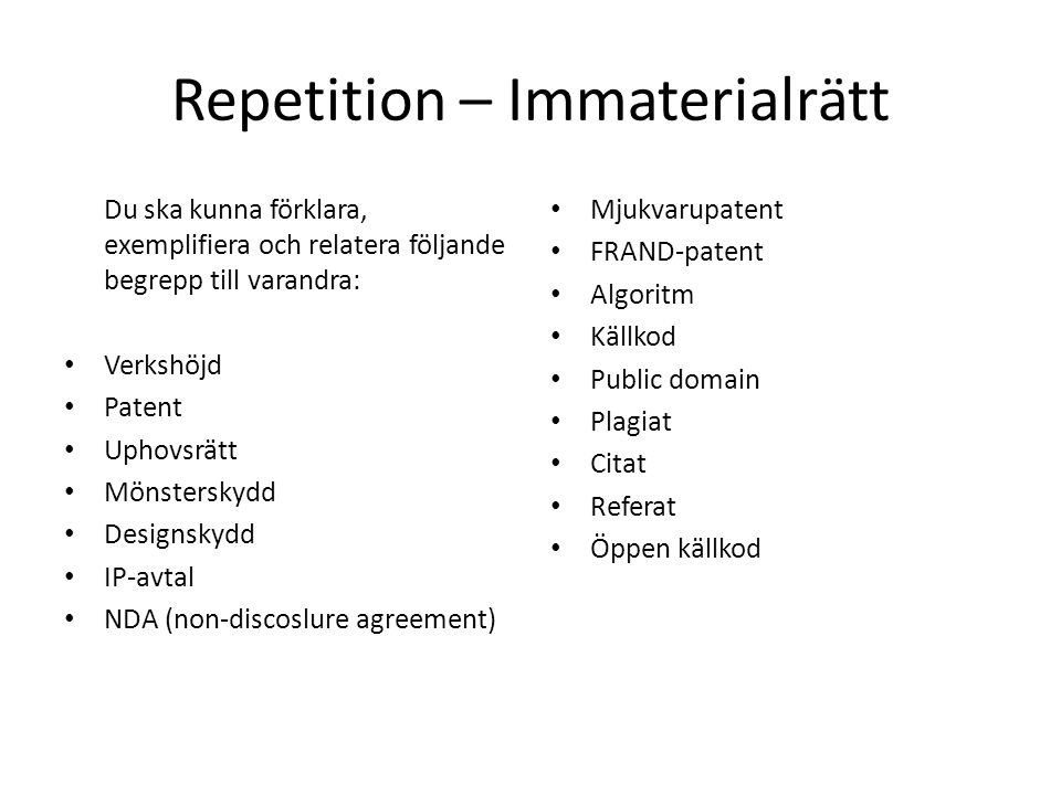 Repetition – Immaterialrätt