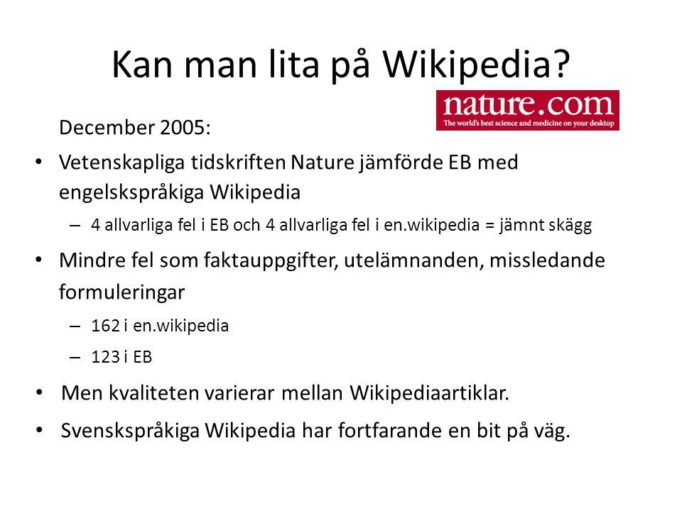 Kan man lita på Wikipedia