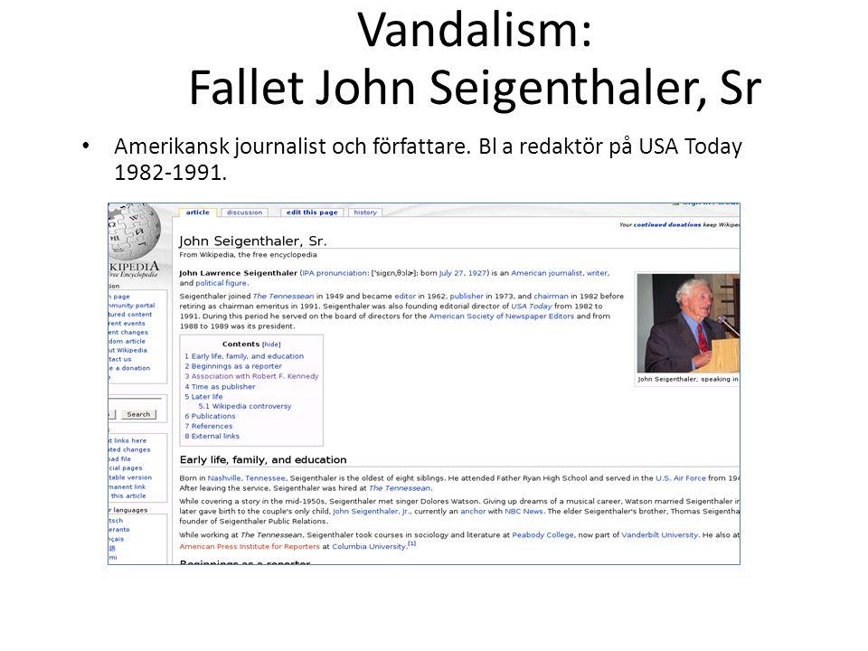 Vandalism: Fallet John Seigenthaler, Sr