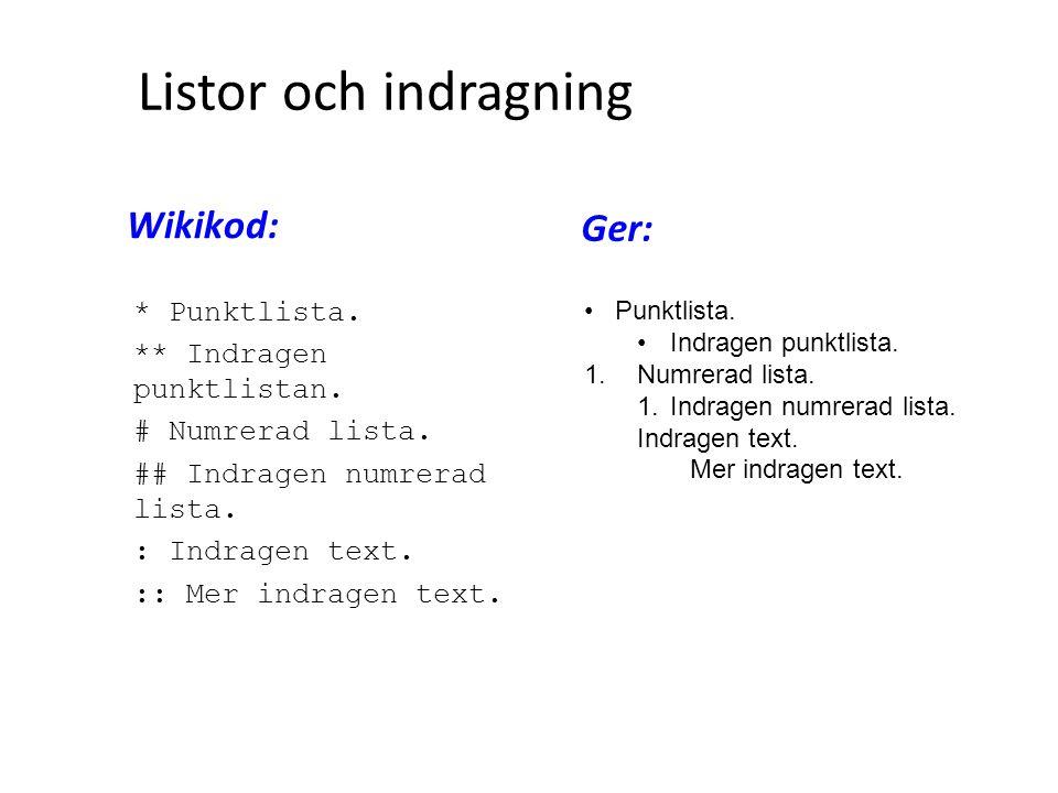 Listor och indragning Wikikod: Ger: