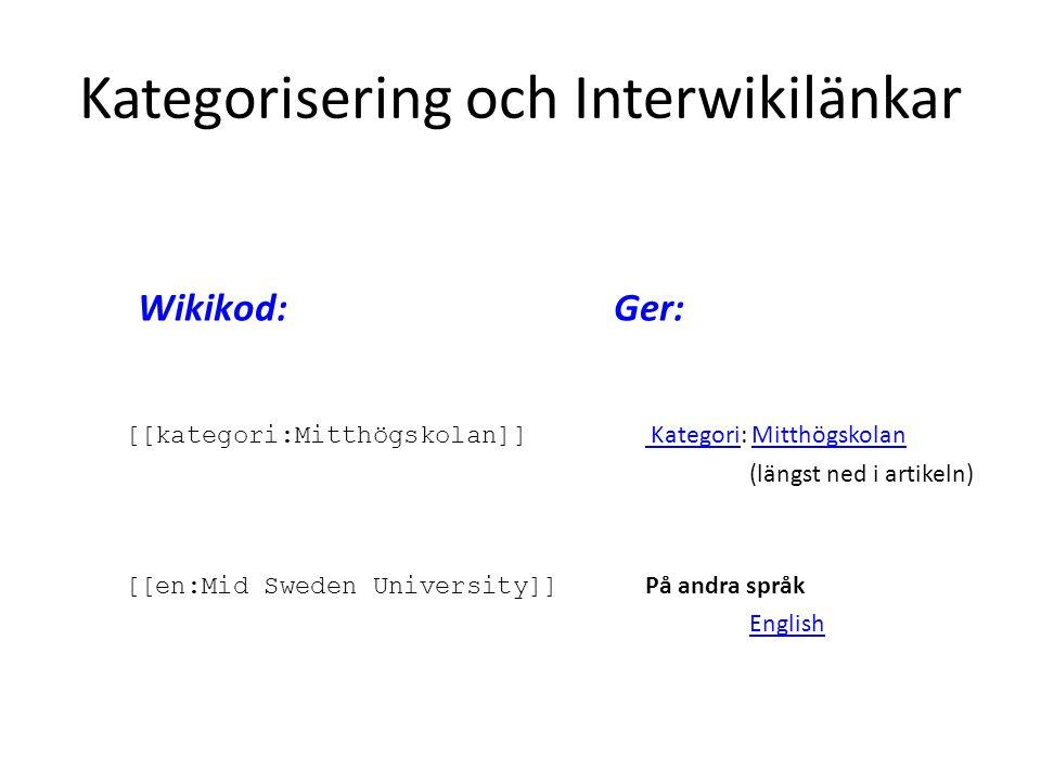 Kategorisering och Interwikilänkar
