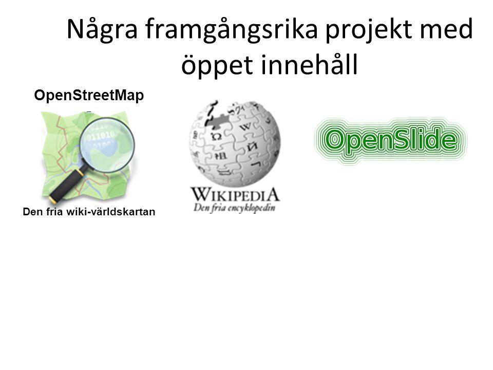 Några framgångsrika projekt med öppet innehåll