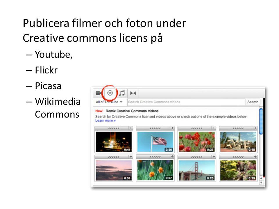 Publicera filmer och foton under Creative commons licens på
