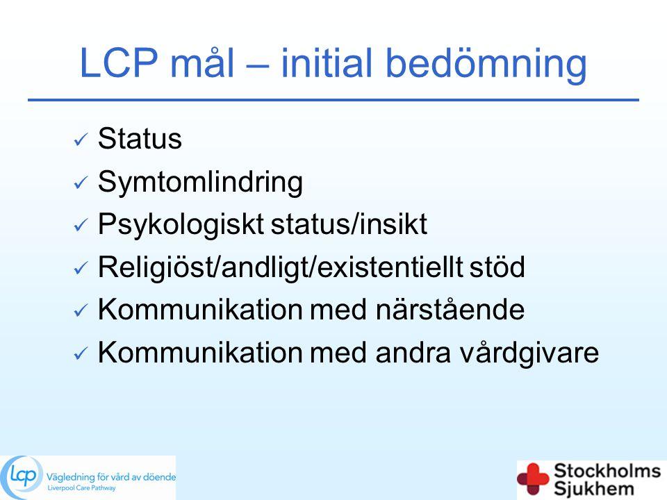 LCP mål – initial bedömning