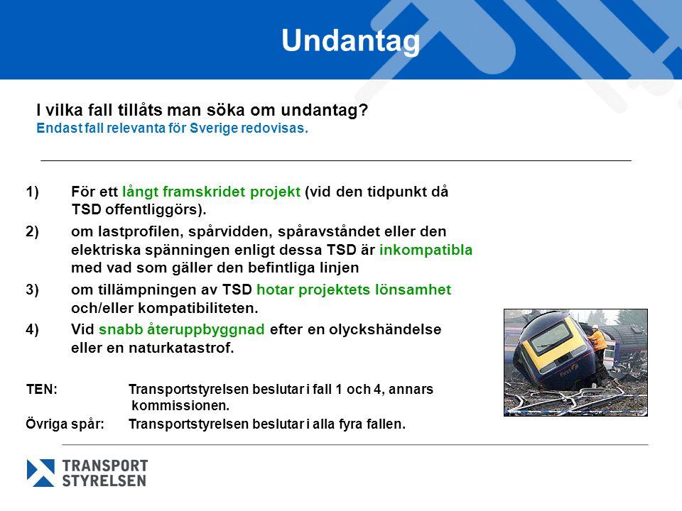 Undantag I vilka fall tillåts man söka om undantag Endast fall relevanta för Sverige redovisas.