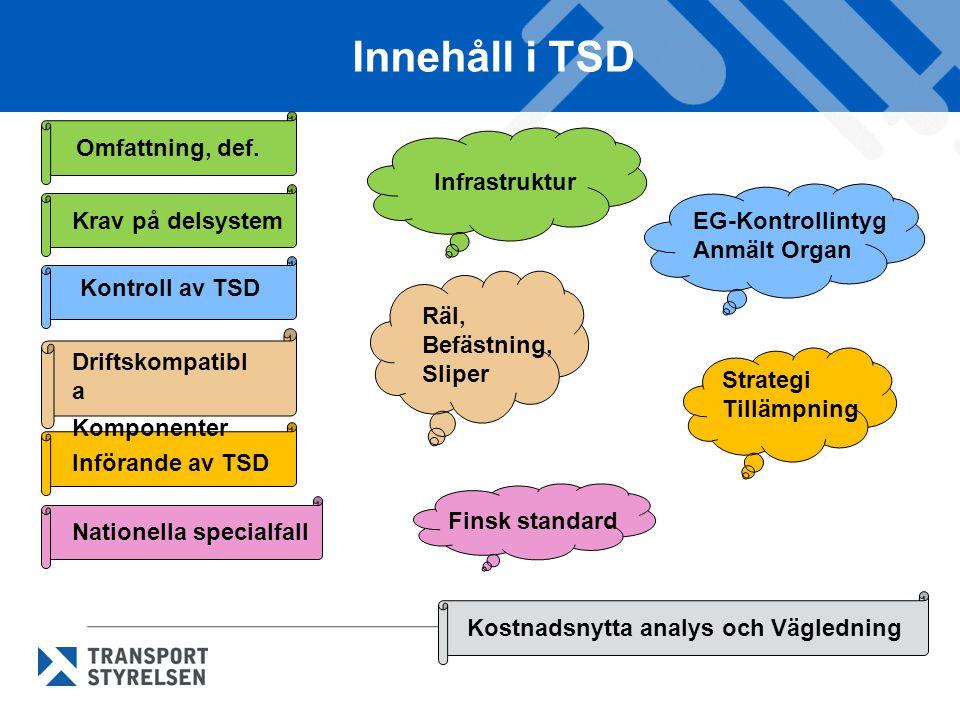 Innehåll i TSD Omfattning, def. Infrastruktur Krav på delsystem