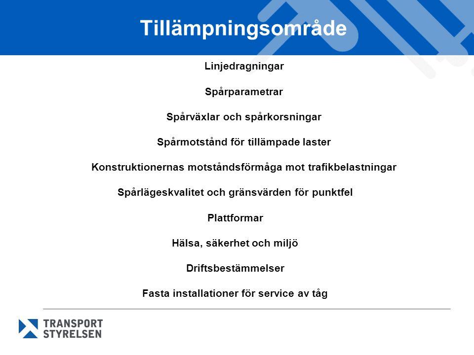 Tillämpningsområde Linjedragningar Spårparametrar Spårväxlar och spårkorsningar. Spårmotstånd för tillämpade laster.