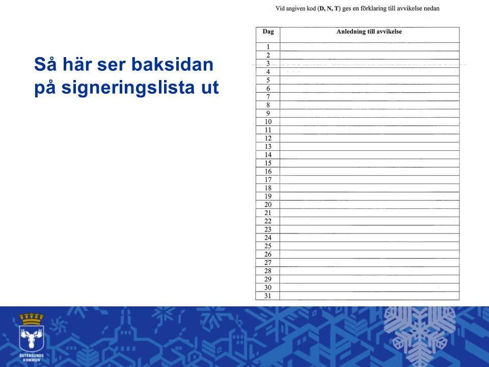 Så här ser baksidan på signeringslista ut Var hittar du dokumentet.