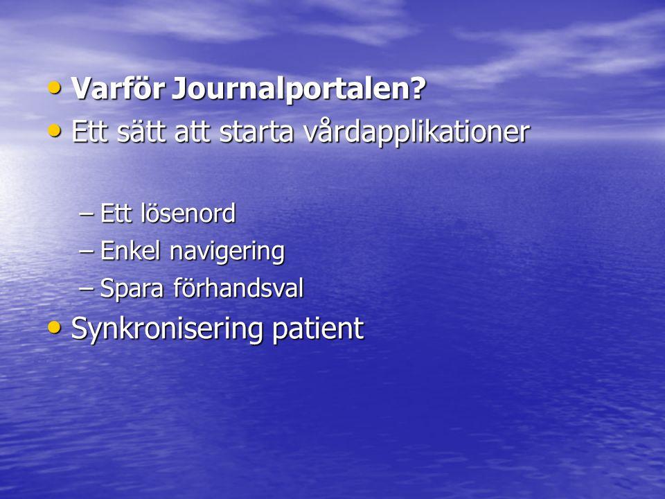 Varför Journalportalen Ett sätt att starta vårdapplikationer
