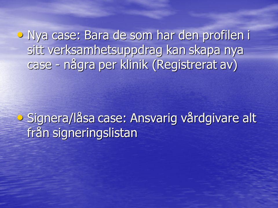 Nya case: Bara de som har den profilen i sitt verksamhetsuppdrag kan skapa nya case - några per klinik (Registrerat av)
