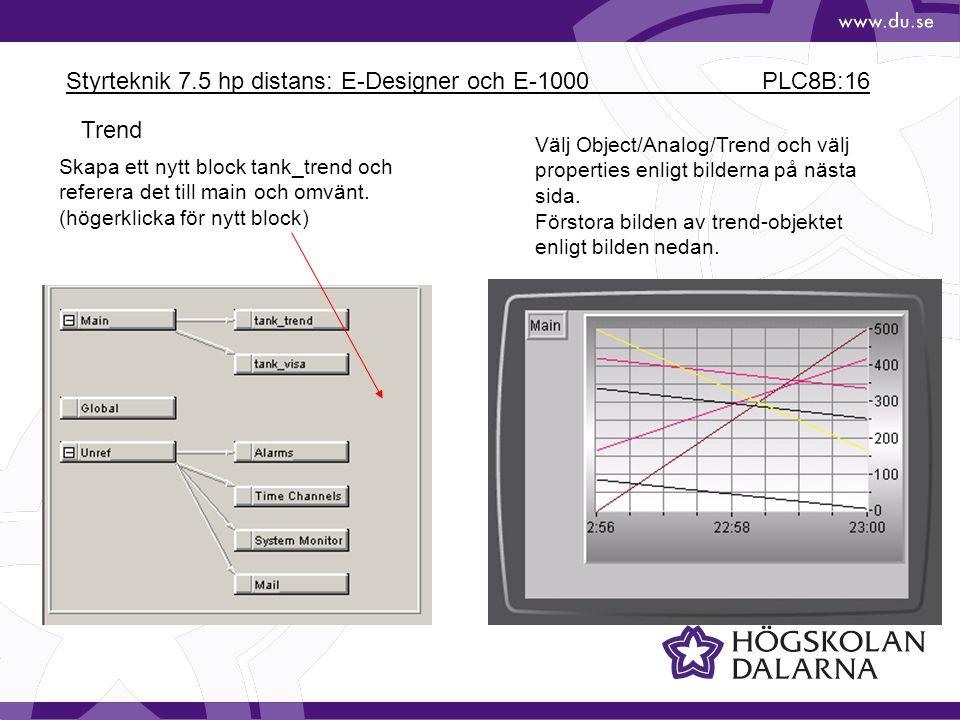 Styrteknik 7.5 hp distans: E-Designer och E-1000 PLC8B:16