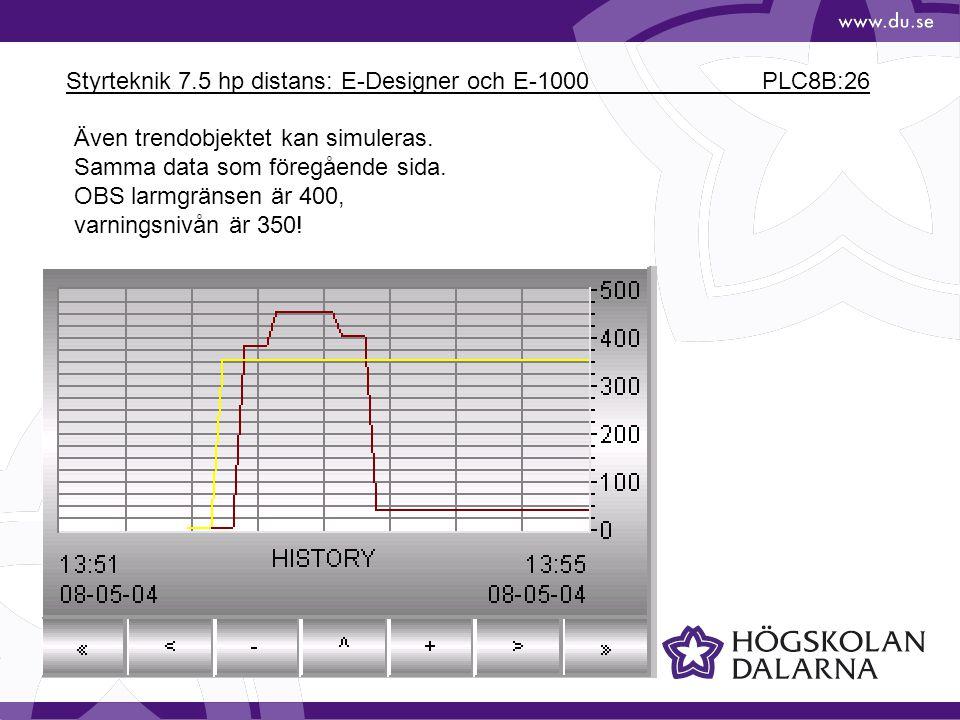 Styrteknik 7.5 hp distans: E-Designer och E-1000 PLC8B:26