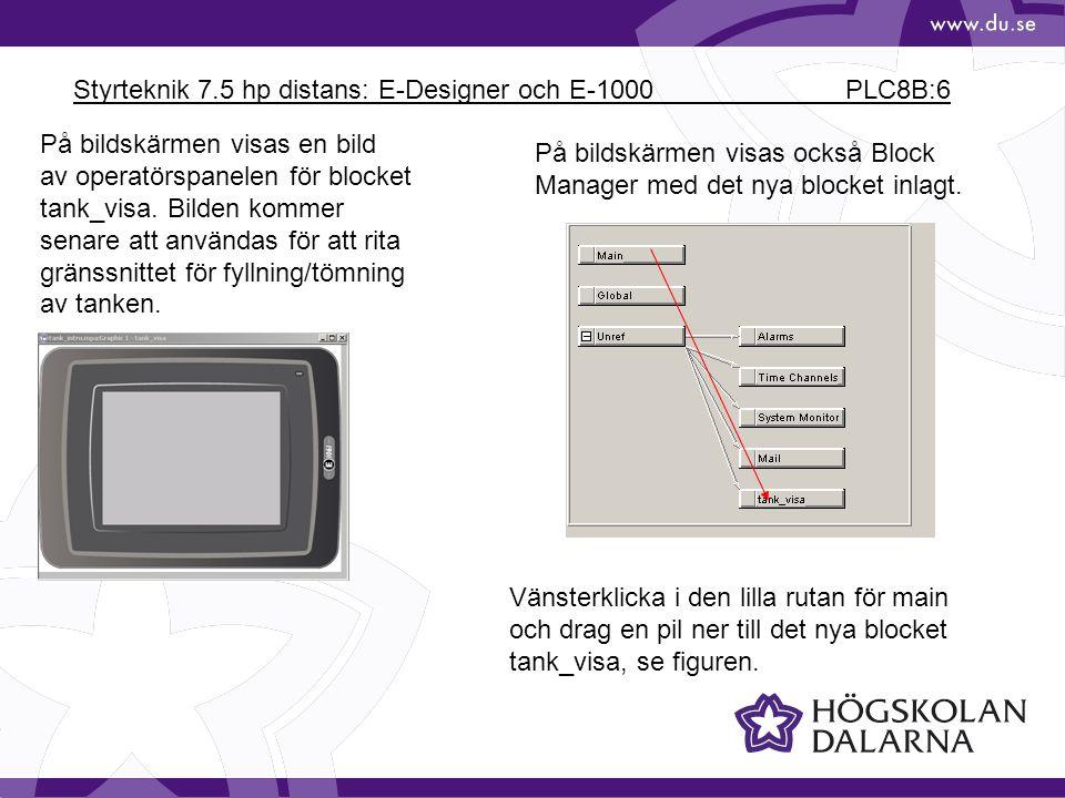 Styrteknik 7.5 hp distans: E-Designer och E-1000 PLC8B:6