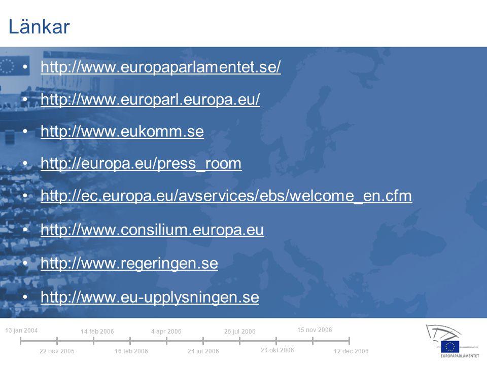 Länkar http://www.europaparlamentet.se/ http://www.europarl.europa.eu/