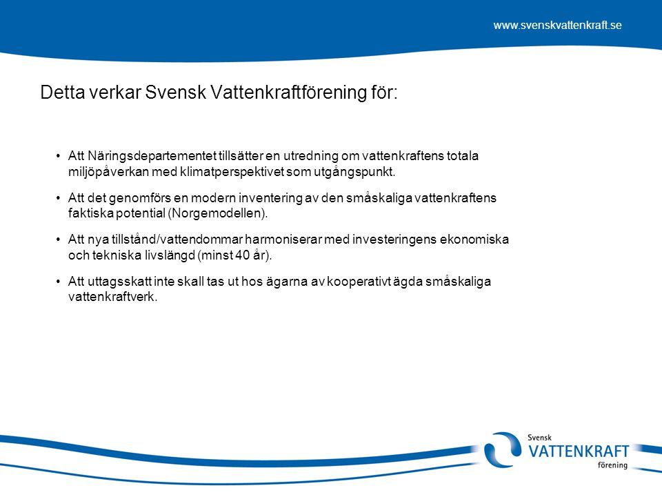 Detta verkar Svensk Vattenkraftförening för:
