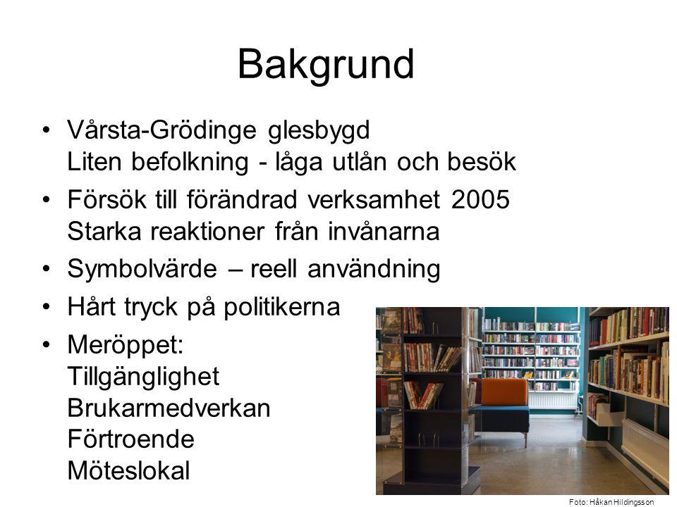 Bakgrund Vårsta-Grödinge glesbygd Liten befolkning - låga utlån och besök. Försök till förändrad verksamhet 2005 Starka reaktioner från invånarna.