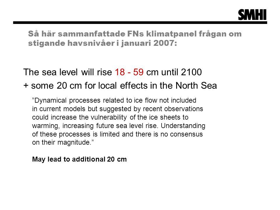 Så här sammanfattade FNs klimatpanel frågan om stigande havsnivåer i januari 2007: