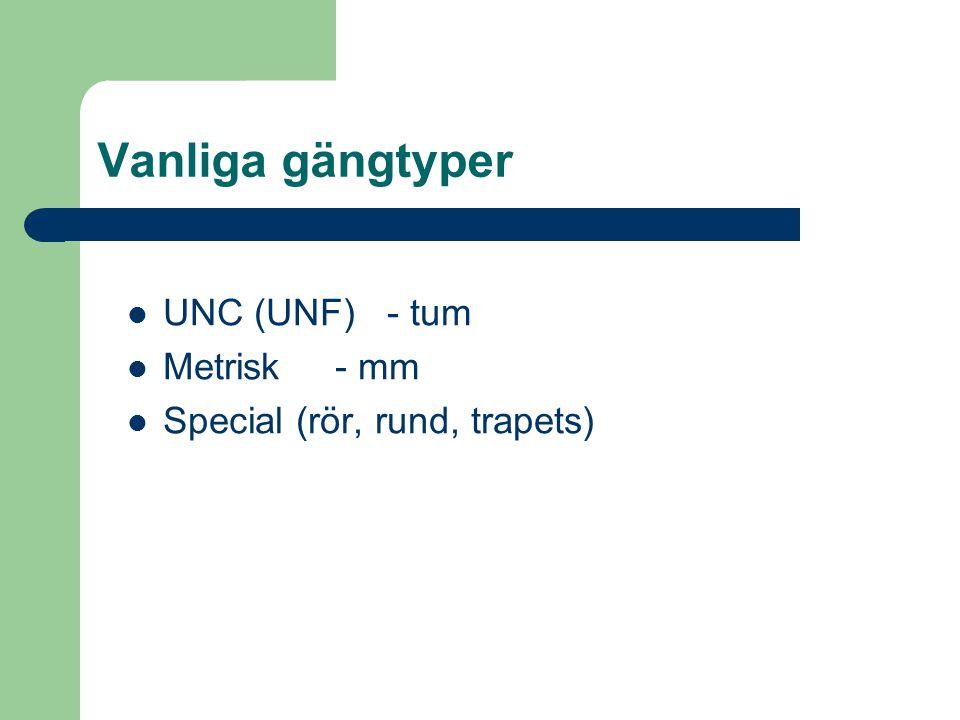 Vanliga gängtyper UNC (UNF) - tum Metrisk - mm