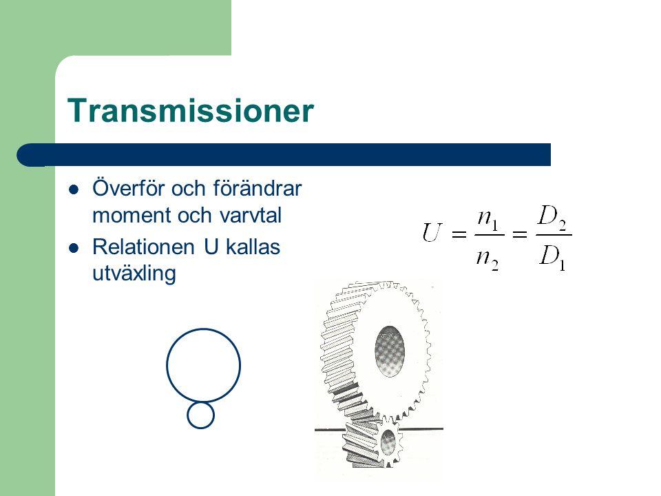 Transmissioner Överför och förändrar moment och varvtal