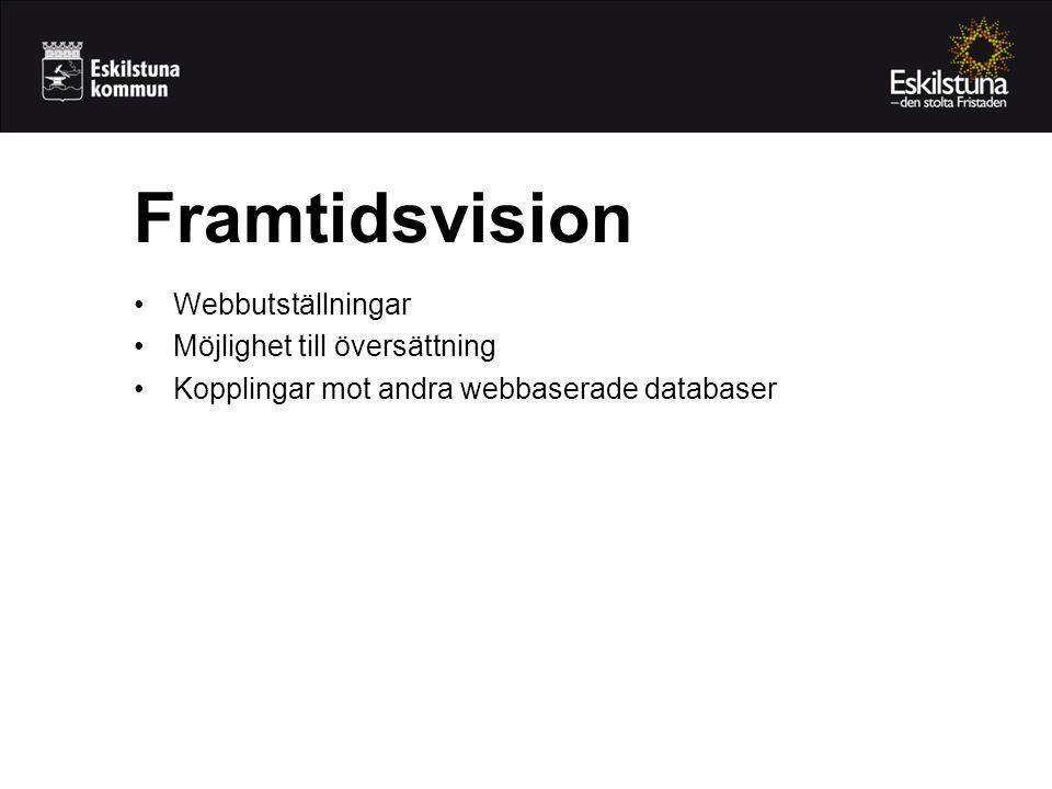 Framtidsvision Webbutställningar Möjlighet till översättning