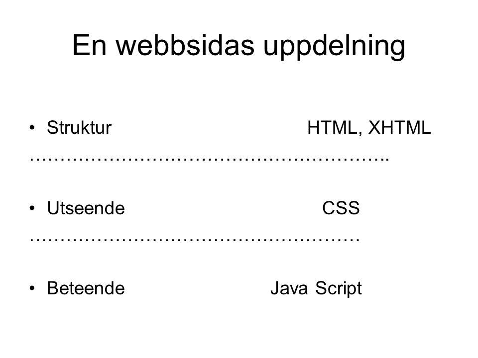 En webbsidas uppdelning