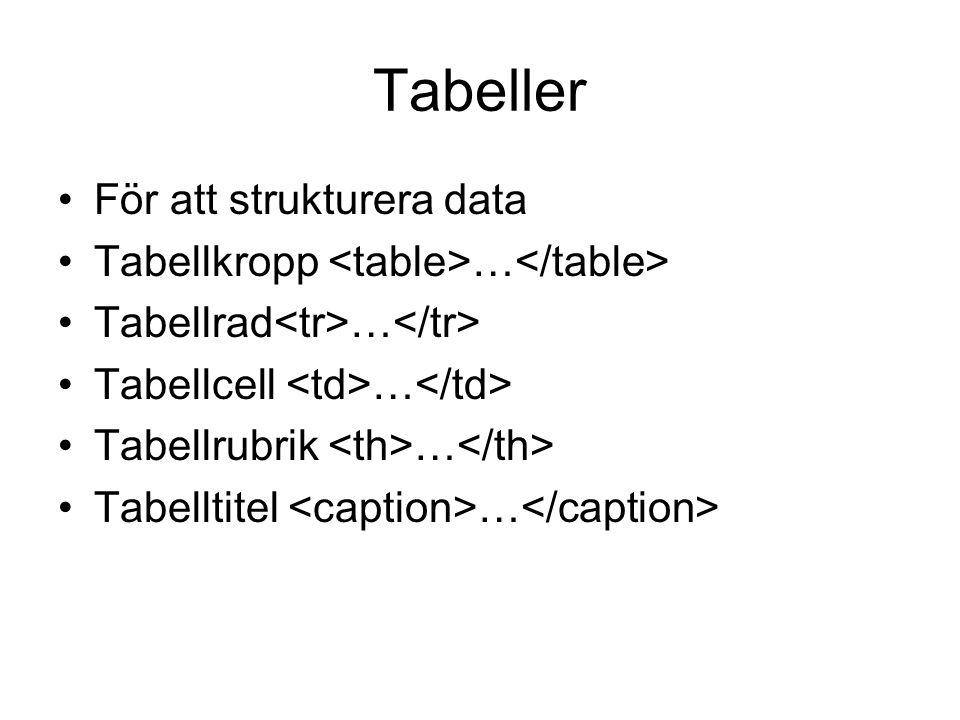 Tabeller För att strukturera data