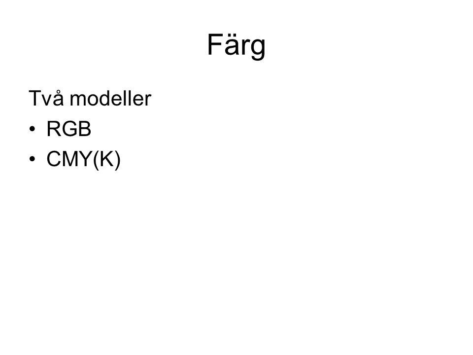 Färg Två modeller RGB CMY(K)
