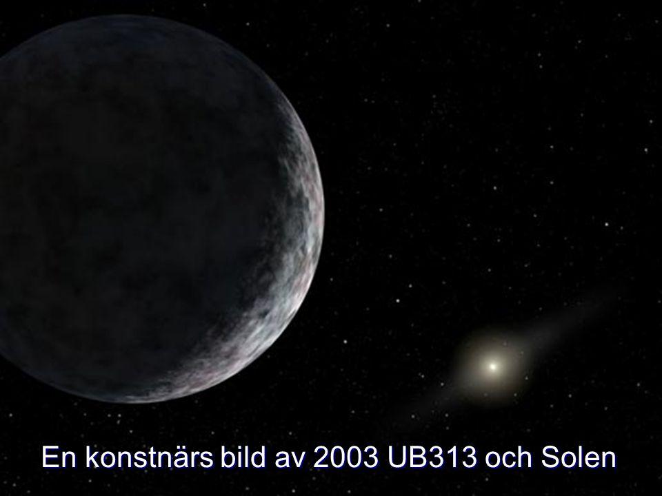 En konstnärs bild av 2003 UB313 och Solen