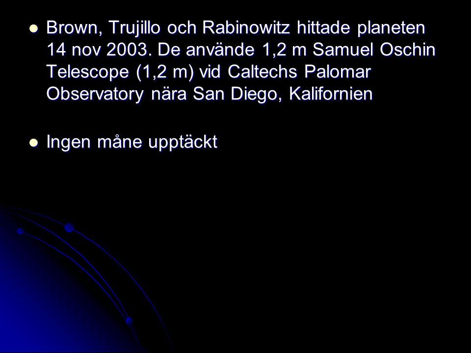 Brown, Trujillo och Rabinowitz hittade planeten 14 nov 2003