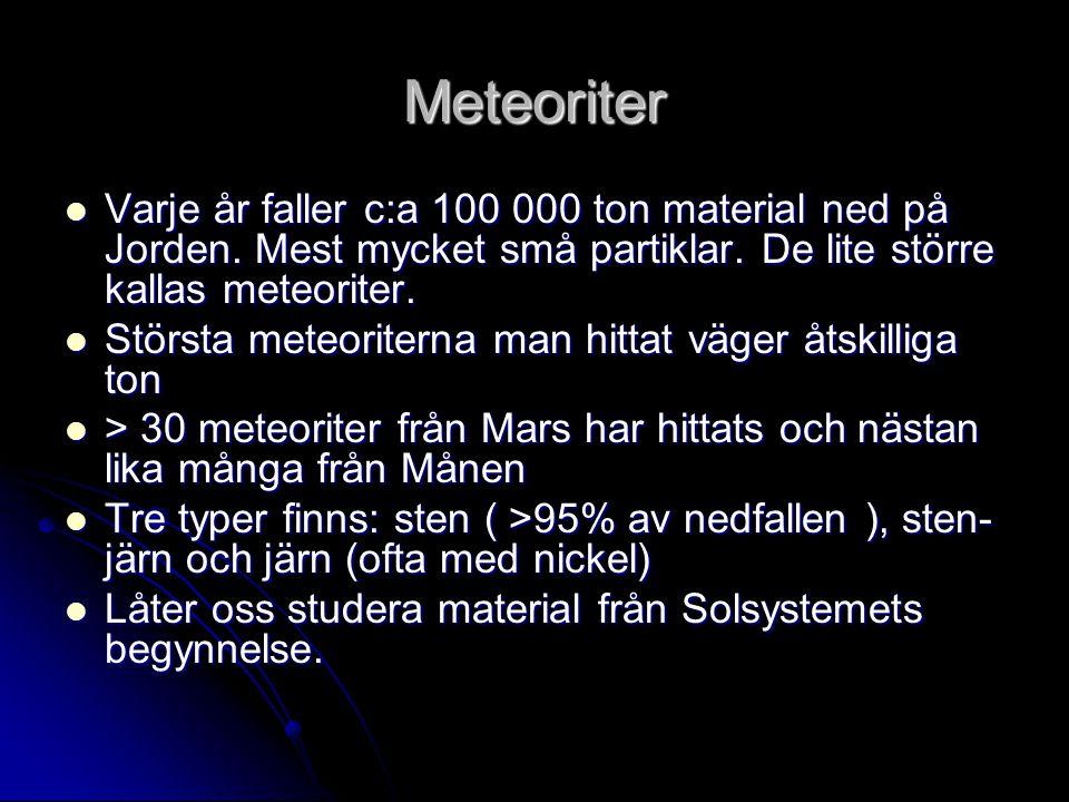 Meteoriter Varje år faller c:a 100 000 ton material ned på Jorden. Mest mycket små partiklar. De lite större kallas meteoriter.