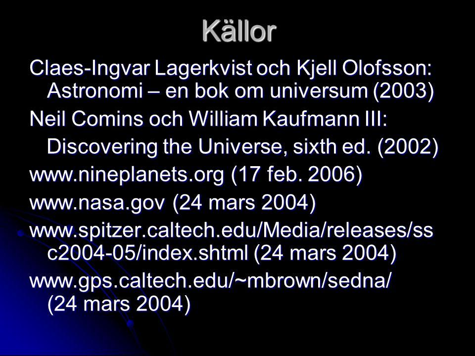 Källor Claes-Ingvar Lagerkvist och Kjell Olofsson: Astronomi – en bok om universum (2003) Neil Comins och William Kaufmann III: