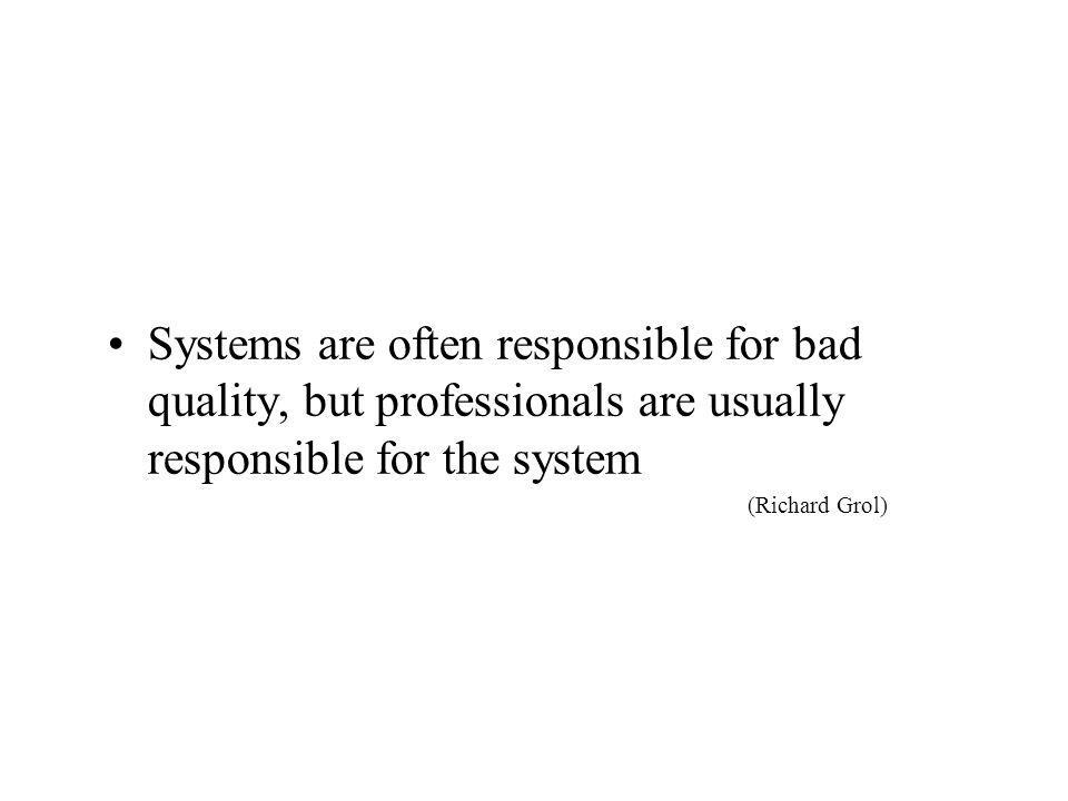 Systems are often responsible for bad quality, but professionals are usually responsible for the system