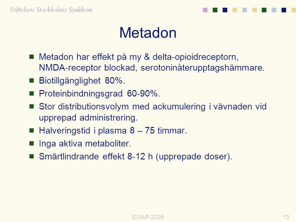 Metadon Metadon har effekt på my & delta-opioidreceptorn, NMDA-receptor blockad, serotoninåterupptagshämmare.