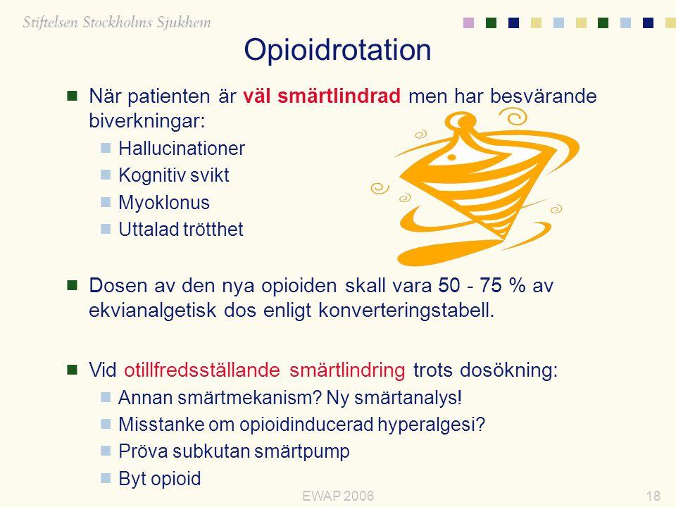 Opioidrotation När patienten är väl smärtlindrad men har besvärande biverkningar: Hallucinationer.