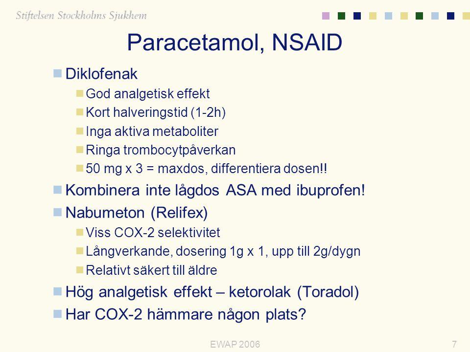 Paracetamol, NSAID Diklofenak Kombinera inte lågdos ASA med ibuprofen!