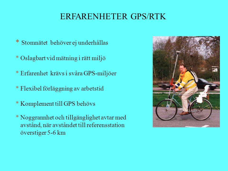 ERFARENHETER GPS/RTK Stomnätet behöver ej underhållas