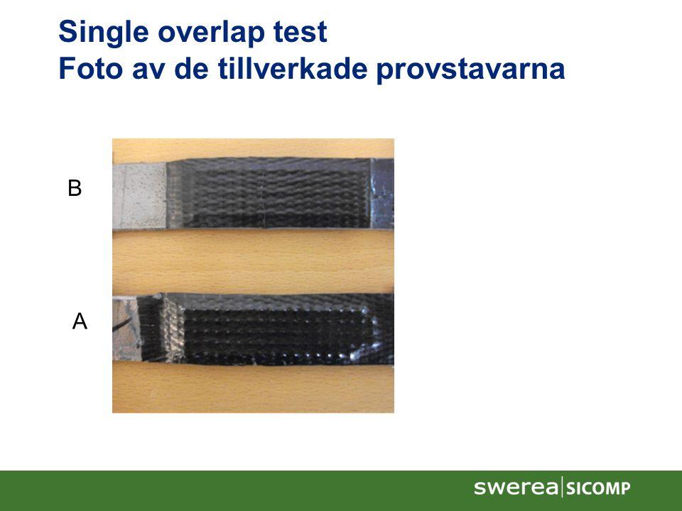 Single overlap test Foto av de tillverkade provstavarna