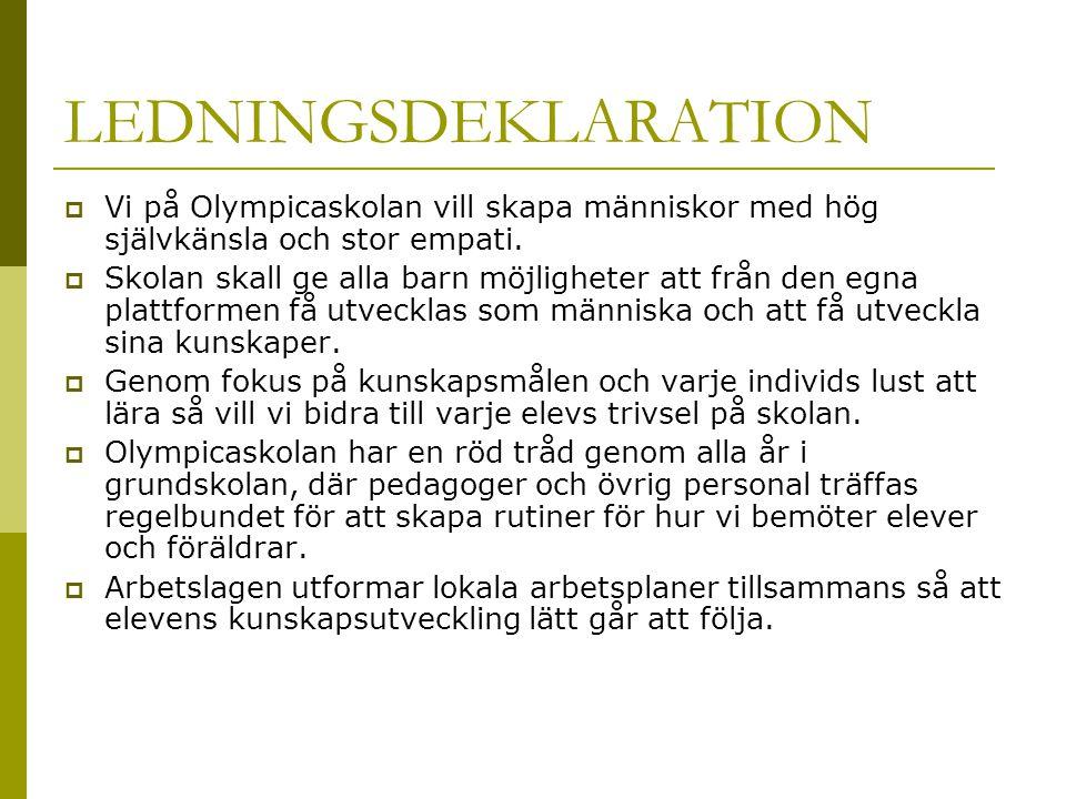 LEDNINGSDEKLARATION Vi på Olympicaskolan vill skapa människor med hög självkänsla och stor empati.